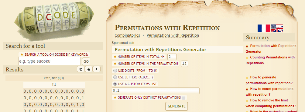 dCode's Permutation with Repetitions Generator